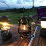 キャンプ ランタン3種類(ガソリン・オイル・LED)の明るさ使い方比較